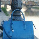 AmicaMako イタリア製バッグ レザー型押しバッグ 青いバッグ シルヴァーノ・ジュリアーニ