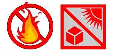 火気と直射日光は禁止