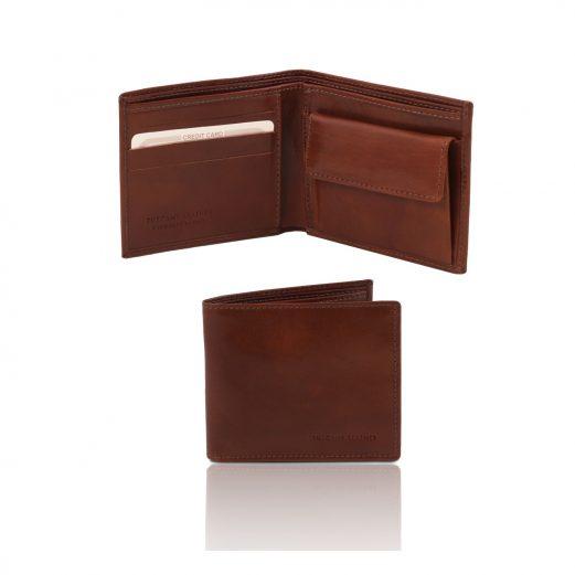 イタリア製フルグレインレザーの2か所紙幣入れ&小銭入れつきメンズ財布、ブラウン