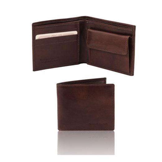 イタリア製フルグレインレザーの2か所紙幣入れ&小銭入れつきメンズ財布、ダークブラウン