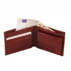 イタリア製フルグレインレザーの2か所紙幣入れ&小銭入れつきメンズ財布、詳細1
