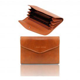 イタリア製フルグレインレザーのアコーディオンタイプ財布、ハニー