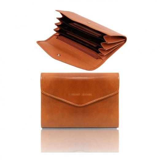 イタリア製本牛革カーフレザー・アコーディオンタイプ財布、ハニー、キャメル、コニャック