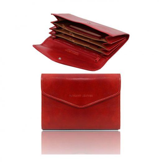 イタリア製フルグレインレザーのアコーディオンタイプ財布、レッド