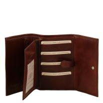 イタリア製フルグレインレザー身分証ケースつき三つ折り財布、ブラウン、詳細1