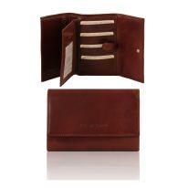 イタリア製フルグレインレザー身分証ケースつき三つ折り財布、ブラウン
