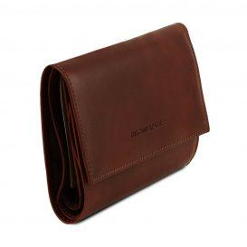イタリア製フルグレインレザー身分証ケースつき三つ折り財布、詳細
