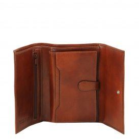 イタリア製フルグレインレザー身分証ケースつき三つ折り財布、ブラウン、詳細2