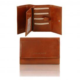 イタリア製フルグレインレザー身分証ケースつき三つ折り財布、ハニー