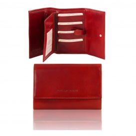 イタリア製カーフレザー身分証ケースつき三つ折り財布、レッド