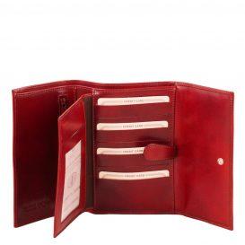 イタリア製カーフレザー身分証ケースつき三つ折り財布、レッド、詳細1