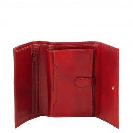 イタリア製フルグレインレザー身分証ケースつき三つ折り財布、レッド、詳細2