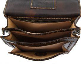 DAVID 本牛革ベジタブルタンニンレザーの斜め掛けバッグ - Lサイズ