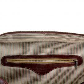 イタリア製ベジタブルタンニンレザーのボストンバッグ TL VOYAGER、ダークブラウン、詳細4