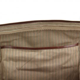 イタリア製ベジタブルタンニンレザーのボストンバッグ TL VOYAGER、ダークブラウン、詳細7