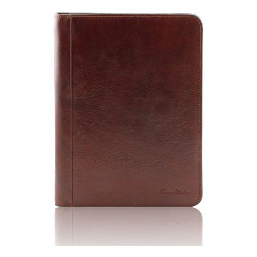 LUCIO イタリア製本革ベジタブルタンニンレザーのドキュメントケース(リングフォルダー付き)ブラウン・茶色