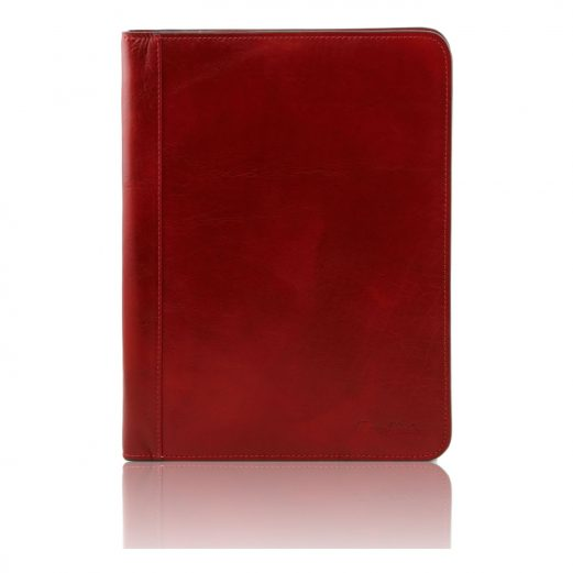 LUCIO イタリア製本革ベジタブルタンニンレザーのドキュメントケース(リングフォルダー付き)レッド・赤