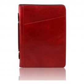 COSTANZO イタリア製本革ベジタブルタンニンレザーのドキュメントケース(リングフォルダー付き)レッド・赤