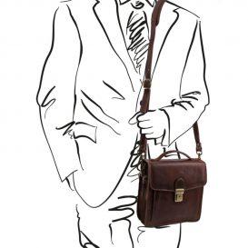 DAVID 本牛革ベジタブルタンニンレザーの斜め掛けバッグ - Sサイズ