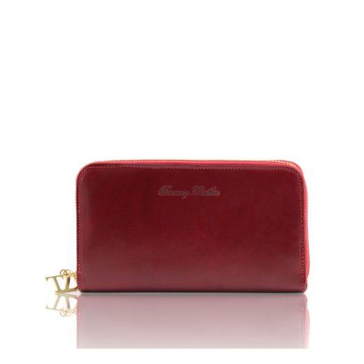 イタリア製本牛革カーフレザーのレディース長財布・レッド・赤