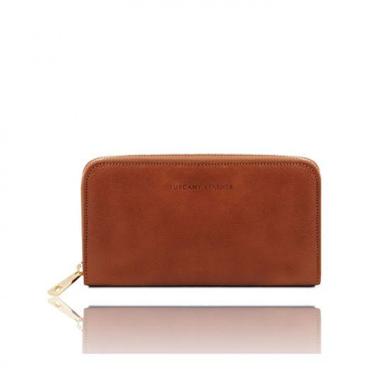 イタリア製フルグレインレザーのレディース長財布、ブラウン