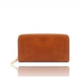 イタリア製本牛革カーフレザーのレディース長財布、ハニー、キャメル