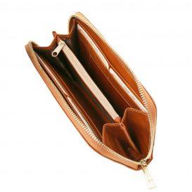 イタリア製本牛革カーフレザーのレディース長財布、ハニー、キャメル、詳細