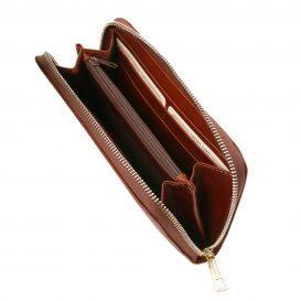 イタリア製フルグレインレザーのレディース長財布、ブラウン、詳細1