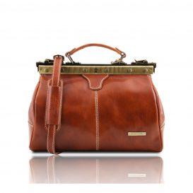 イタリア製MICHELANGELO ベジタブルタンニンレザーのクラシック調バッグ、ハニー、キャメル、はちみつ、コニャック