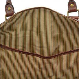 ベジタブルタンニンレザーのボストンバッグ表ポケットTL VOYAGER(Lサイズ)