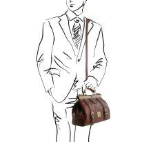 ベジタブルタンニンレザーのクラシック調バッグ MONALISA_ショルダー取り付け、イメージ