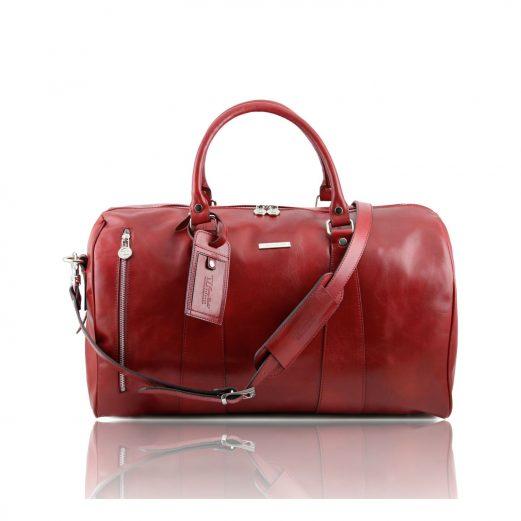 イタリア製本牛革ベジタブルタンニンレザーの旅行ボストンバッグ・表ポケットあり - Lサイズ TL VOYAGER・レッド・赤