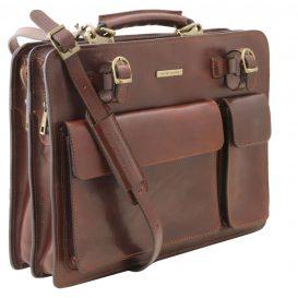 イタリア製VENEZIA ベジタブルタンニンレザーのビジネスバッグ、ブラウン、茶色、詳細1