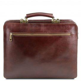 イタリア製VENEZIA ベジタブルタンニンレザーのビジネスバッグ、ブラウン、茶色、詳細2