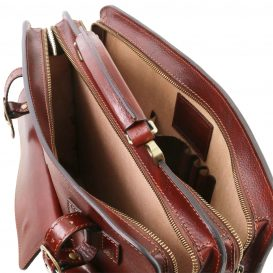 イタリア製VENEZIA ベジタブルタンニンレザーのビジネスバッグ、ブラウン、茶色、詳細3