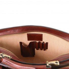 イタリア製VENEZIA ベジタブルタンニンレザーのビジネスバッグ、ブラウン、茶色、詳細4