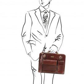 イタリア製VENEZIA ベジタブルタンニンレザーのビジネスバッグ、ブラウン、茶色、詳細5