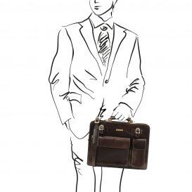 イタリア製VENEZIA ベジタブルタンニンレザーのビジネスバッグ、ダークブラウン、こげ茶色、詳細1