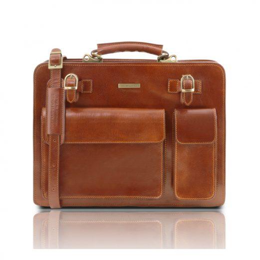 イタリア製VENEZIA ベジタブルタンニンレザーのビジネスバッグ、ハニー、キャメル、コニャック