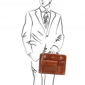 イタリア製VENEZIA ベジタブルタンニンレザーのビジネスバッグ、ハニー、キャメル、コニャック、詳細1