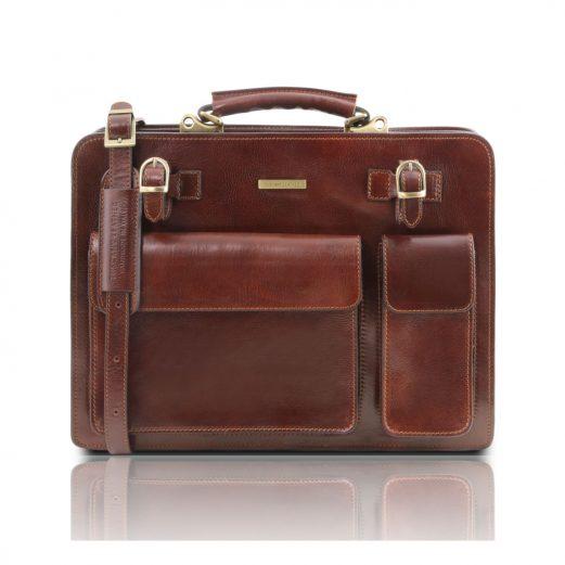 イタリア製VENEZIA ベジタブルタンニンレザーのビジネスバッグ、ブラウン