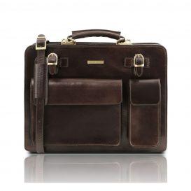 イタリア製VENEZIA ベジタブルタンニンレザーのビジネスバッグ、ダークブラウン