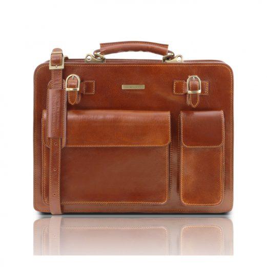 イタリア製VENEZIA ベジタブルタンニンレザーのビジネスバッグ、ハニー