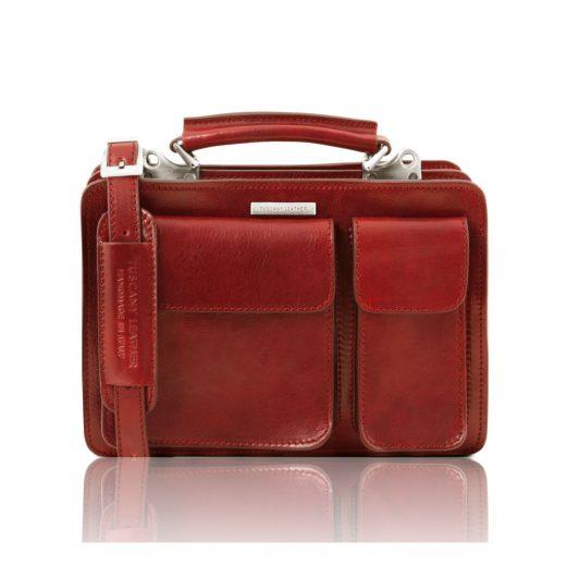 イタリア製ベジタブルタンニンレザーのショルダーバッグ TANIA (Sサイズ)、レッド