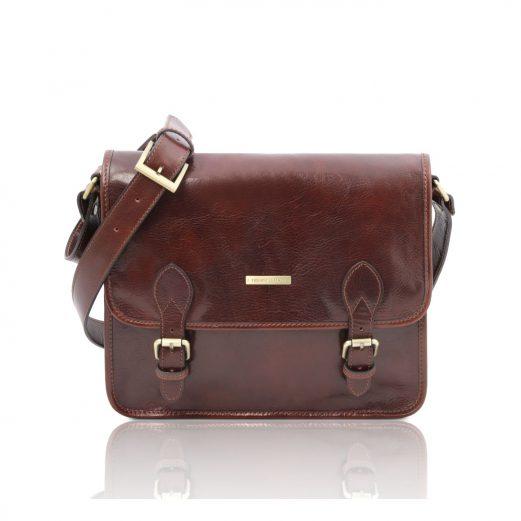 イタリア製ベジタブルタンニンレザーのメッセンジャーバッグ TL Postman、ブラウン