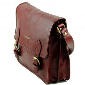 イタリア製ベジタブルタンニンレザーのメッセンジャーバッグ TL Postman、ブラウン、茶色、詳細1