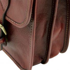 イタリア製本牛革ベジタブルタンニンレザーのメッセンジャーバッグ TL Postman、ブラウン、茶色、詳細4