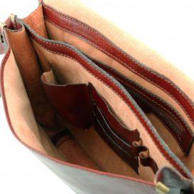 イタリア製本牛革ベジタブルタンニンレザーのメッセンジャーバッグ TL Postman、ブラウン、茶色、詳細5