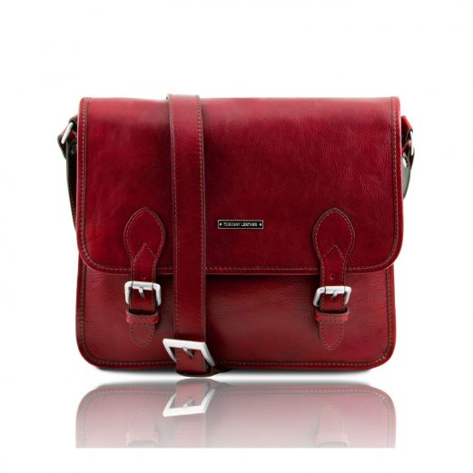 イタリア製本牛革ベジタブルタンニンレザーのメッセンジャーバッグ TL Postman、レッド、赤