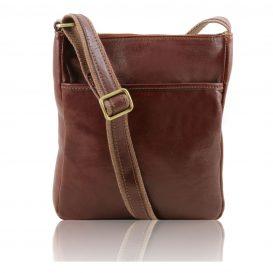 イタリア製JASON 本牛革ベジタブルタンニンレザーの斜めがけバッグ、ブラウン、茶色